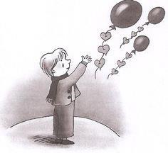 afscheid nemen van kind met balonnen